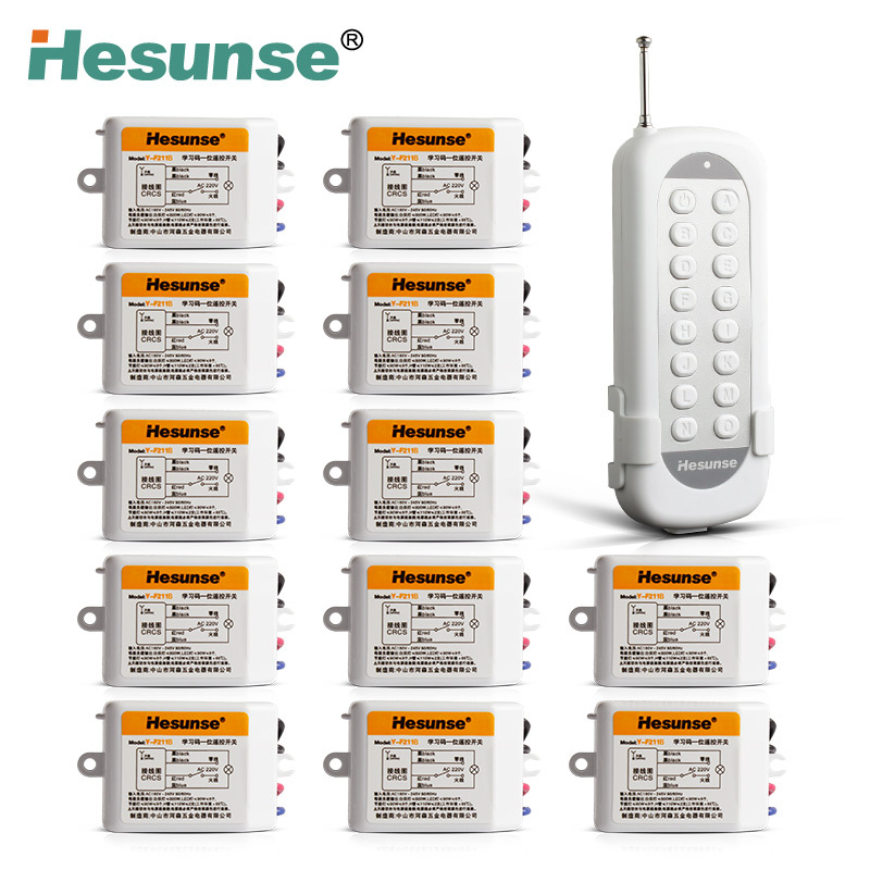 Y-F211B1N12 220V 12 Channels Wireless RF Remote Control Switch Learning Code Switch Through Walls 110V Can Be Customized