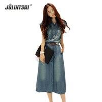 Elegant Denim Dress Women 2016 Summer New Korean Style Short Sleeve Large Size XS 4XL Women