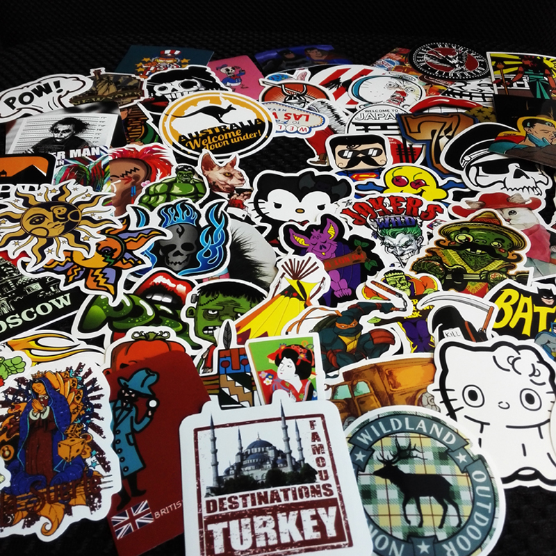 100PCS Car Styling  Moto Stickers Motorcycle Decal Funny Cartoon Personality Cartoon characters spoof Car Sticker Accessories new personality car sticker for vw amarok funny diy car decals sticker car styling 2 pcs concise grid pattern car accessories