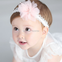 10pcs 2C Fashion Cute Gauze Gemstone Flower Girls Hairbands Solid Kawaii Chiffon Floral Girls Lace Headbands