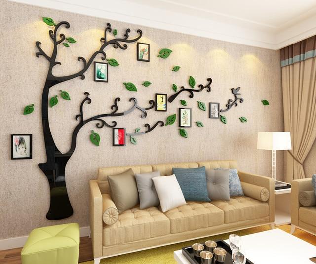 US $47.88 |Foto 3D albero acrilico tridimensionale adesivi murali soggiorno  divano TV sfondo decorazione della parete della stanza della pittura foto  ...
