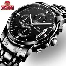 OLMECA 2018 новый черный Нержавеющаясталь мужские часы relogio masculino Элитный бренд аналоговые спортивные наручные кварцевые Бизнес часы