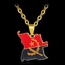 Африканская Горячая Мода унисекс ангольская карта и флаг золотой цвет кулон ожерелья для ангольских ювелирные изделия с дизайном «карта» Bijoux Femme