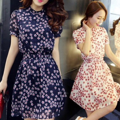 6aeb0622ea New Arrival one piece Summer Women Floral Print Short Sleeve Dress Chiffon  Knee length Dress Casual dress-in Dresses from Women s Clothing on  Aliexpress.com ...