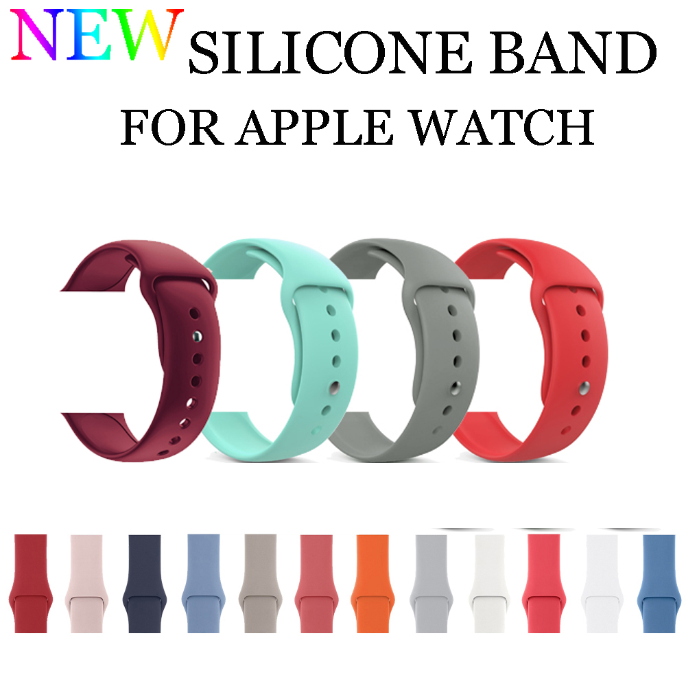 Sport Silicone Strap For Apple Watch Band 42mm 38mm Rubber Bracelet Watchband Straps Iwatch Series 3/2/1 Wrist Watch Belt luxury ladies watch strap for apple watch series 1 2 3 wrist band hand made by crystal bracelet for apple watch series iwatch