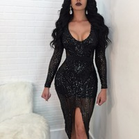 Fashion Sexy Nightclub Wear Sequined Party Dresses Vestidos Long Sleeve Deep V Neck High End Split