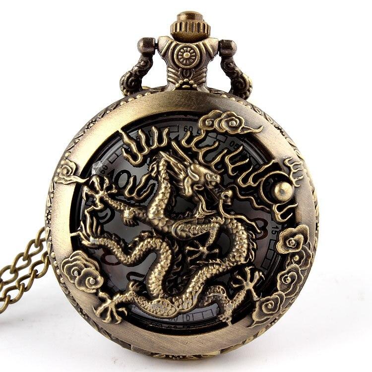 Chinese Zodiac Dragon Hollow Bronze Quartz Pocket Watch Dragon Pattern Laser Engraved Necklace Pendant Women Men Gifts P255