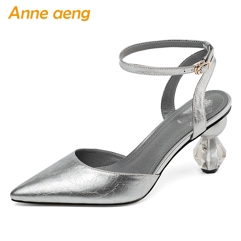 2019 New Summer Genuine Leather Women Ankle Strap Sandals High Crystal Heel Pointed Toe Sexy Ladies