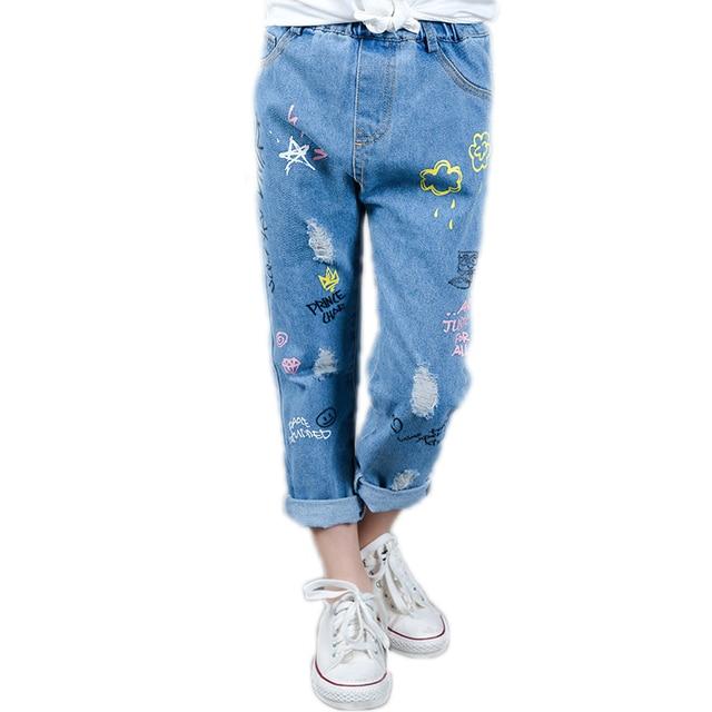 998092ae82 kids girl skinny jeans 2018 new spring girls pants cartoon printed kids  ripped Jeans girls pencil pants girl denim pants 5-11T