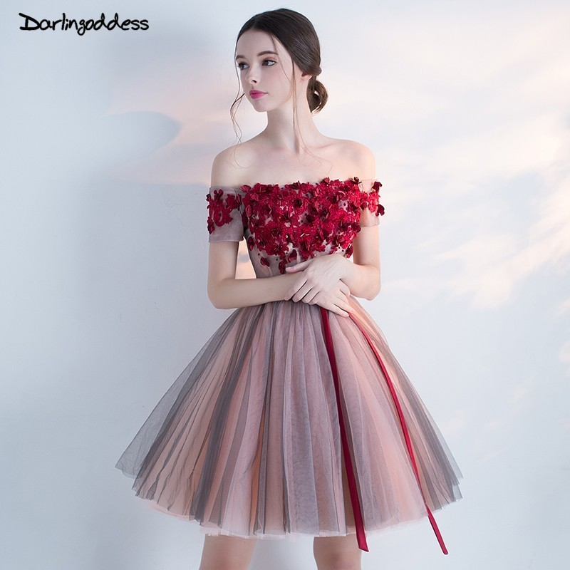 Robe De Cocktail Sexy Cocktail Dresses 2017 Off Shoulder with Sleeves Special Burgundy Cocktail Party Dresses Homecoming Dress cocktail dress