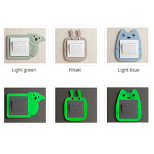 Cute Animal Luminous Light Switch Outlet Wall Sticker Cover Children Room  Decor Fluorescent Wall Silicone On