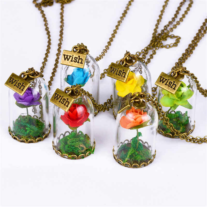 Vintage  Jewelry with Bronze Plated little Prince Dried Rose Flower Glass Wish Bottle Pendant Necklace for Women Party