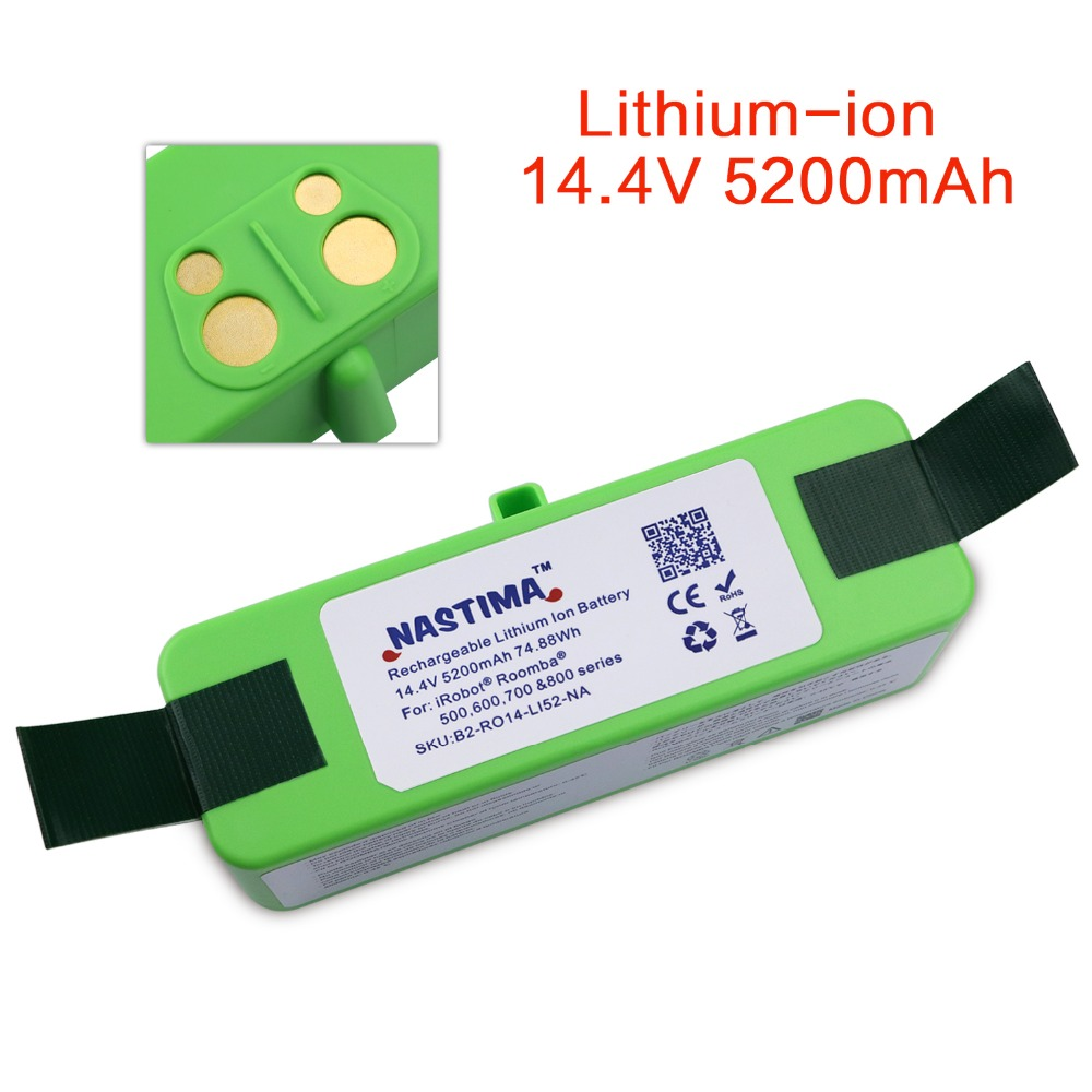 NASTIMA 14.4V 5200mAh Li-ion Replacement Battery Pack for iRobot Roomba 500,600,700,800 & 980 series 600 620 650 700 770 780 800