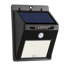 20LED солнечные светильники Водонепроницаемый солнечной смысле свет движения PIR Датчики лампы открытый забор путь Уличный настенный светильник