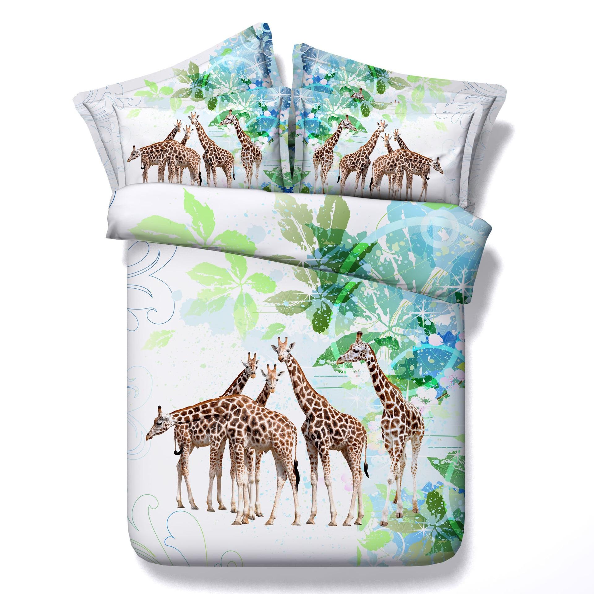Power Source New Home Textile 3d Giraffe Zoo Animal Kids Bedding Sets Bedlinen Duvet Cover Pillowcase Bedlinen Set For Chilren Boy Adult Set Providing Amenities For The People; Making Life Easier For The Population