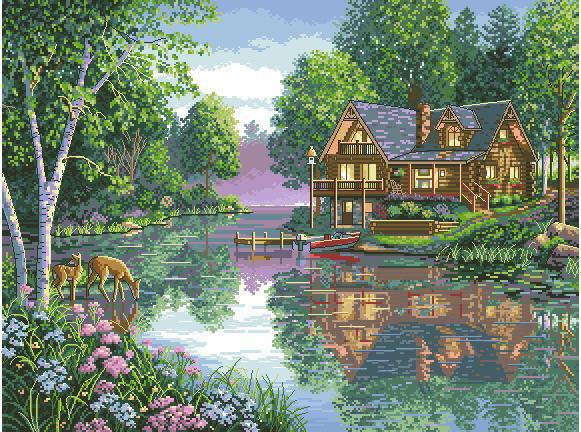 CS 1008 Cross Stitch Kit Water Lake House Home Cottage Dimensions 35183
