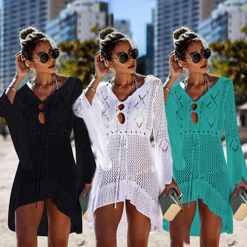 Women Cover Ups Swimwear For Beach Up Plus Size Sexy Dress Hollow Knitted Crocheted Bell Long Sleeve Skirt Colors Solid Acetate