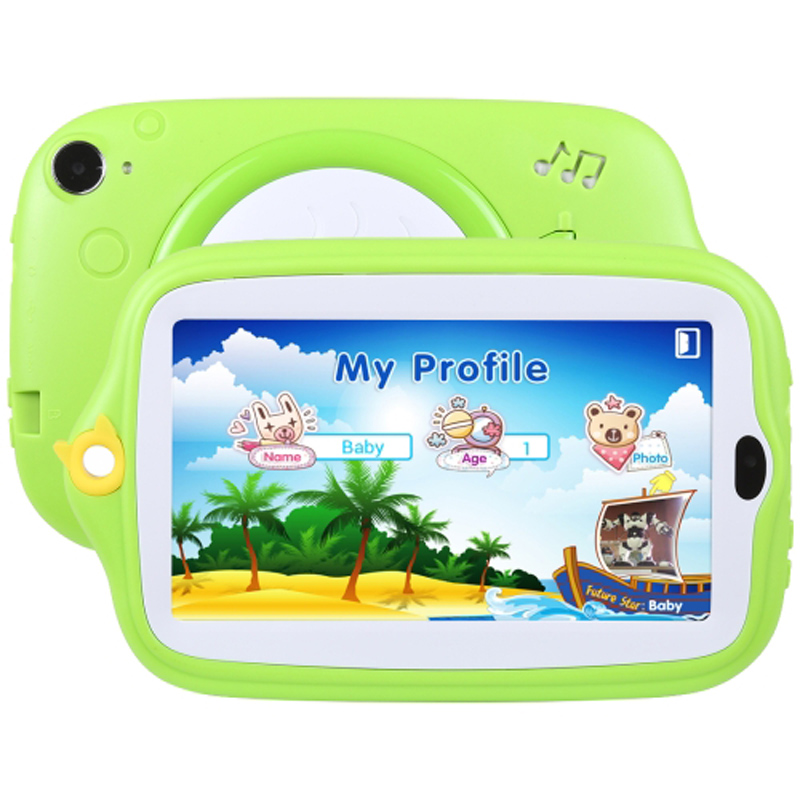 Enfants éducation tablette PC 7.0 pouces 8 GB Android 4.4 Allwinner A33 Quad Core WiFi/Bluetooth avec support coque en silicone (vert)
