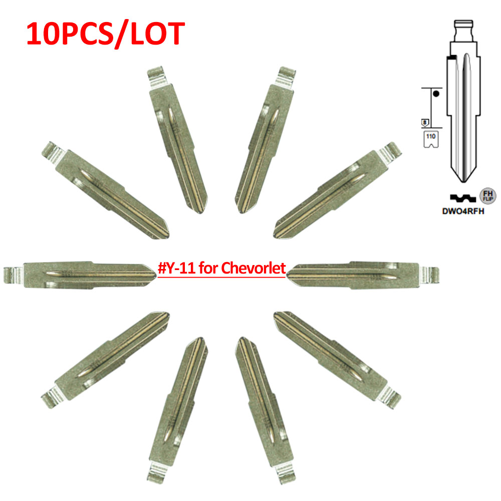 Metal Blank Uncut Flip Remote Key Blade  Type 11# Replacement For Chevrolet 10pcs/lot