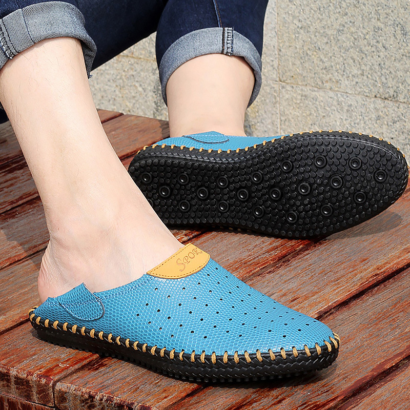 Men's Summer Shoes Leather Clogs Big Size 45-48 Breathable Hollow Slip-On Casual Shoes For Men Rubber Sole Flat Sandals Male