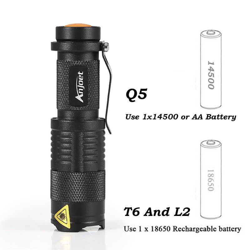 Anjoet Đèn Pin LED Q5 T6 L2 Mini Đèn Pin Xách Tay Có Thể Điều Chỉnh Zoom Sáng Đèn sử dụng năm 14500 và 18650 pin dành cho xe Đạp