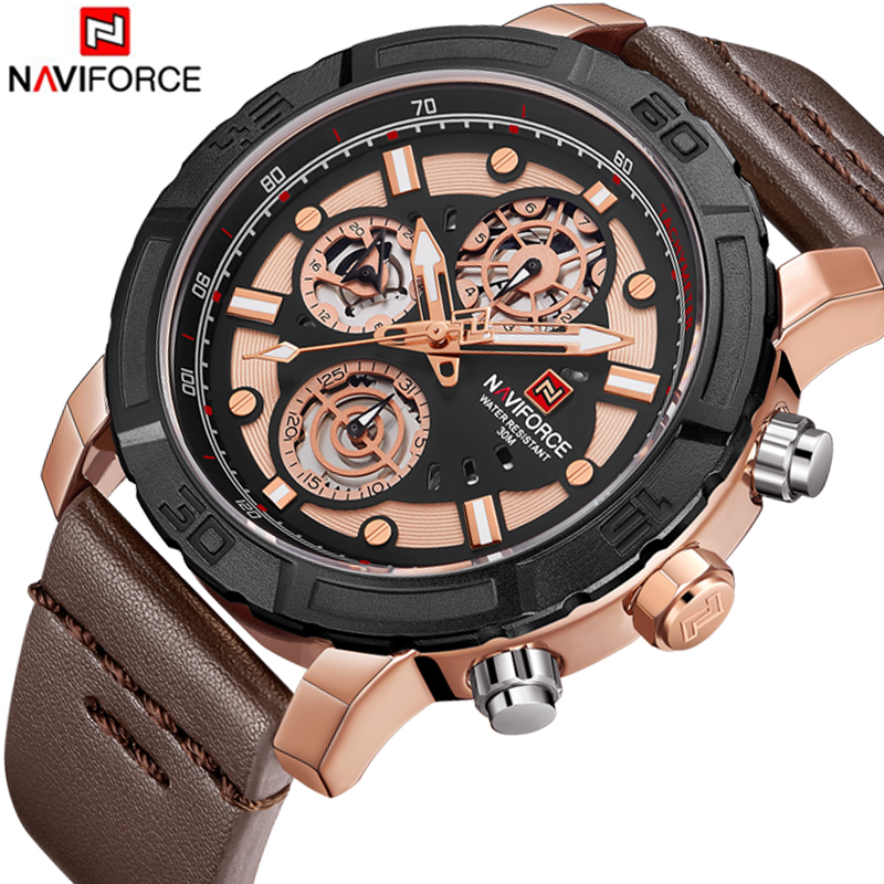 NAVIFORCE Men's Casual Sport Quartz Watch Mens Watches Top Brand Luxury Leather Strap Army Military Watch Wrist Male Clock цена и фото