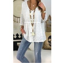 2019 Large Size Cotton Loose Blouse Tops Boho Long Sleeve V-Neck Shirt Female Tops Blouses Plus Size 4xl 5xl