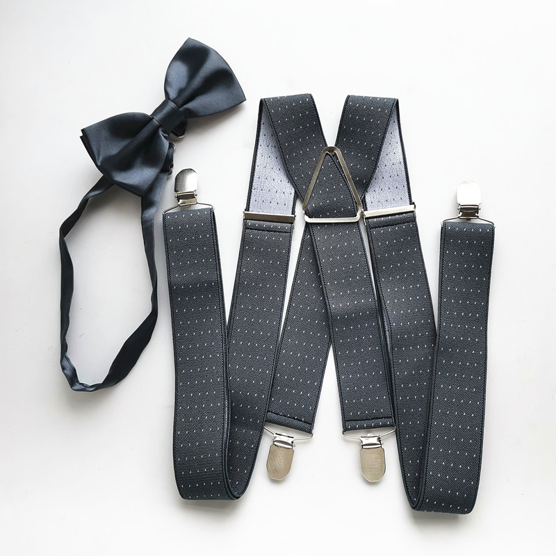 Dark Gray With Dot Men Suspender Bow Tie Sets High Elastic Adjustable Braces Bow Tie Set Adult Women Wedding Designer  LB059