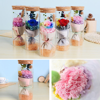 Immortal Rose Flowers LED Light Eternal Natural Fresh Rose Flower Glass Cover Vase Gifts Party Wedding Decorations Centerpiece