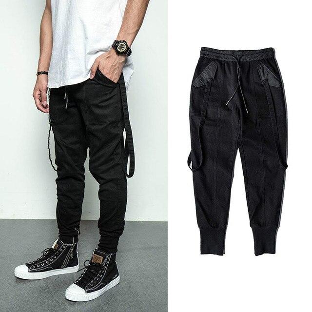 bf8db179638cfc Bebovizi Trend Streetwear Hip Hop Black Pants Personality Slim Cargo Pants  Casual Fashion Joggers Sweatpants Rap Male