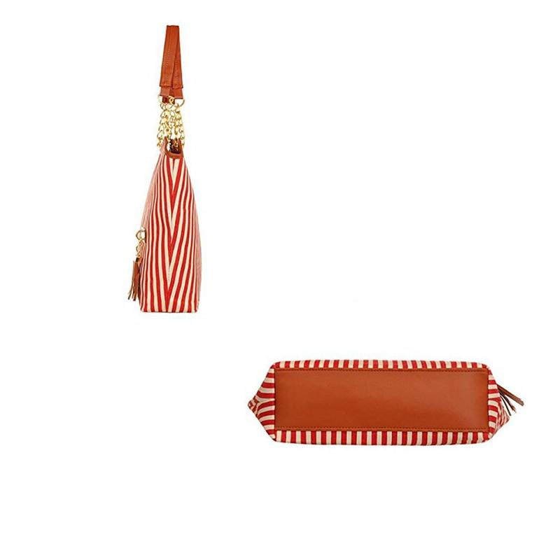 dm prime fênix bolsa vermelha listrado parte de baixo com couro marrom