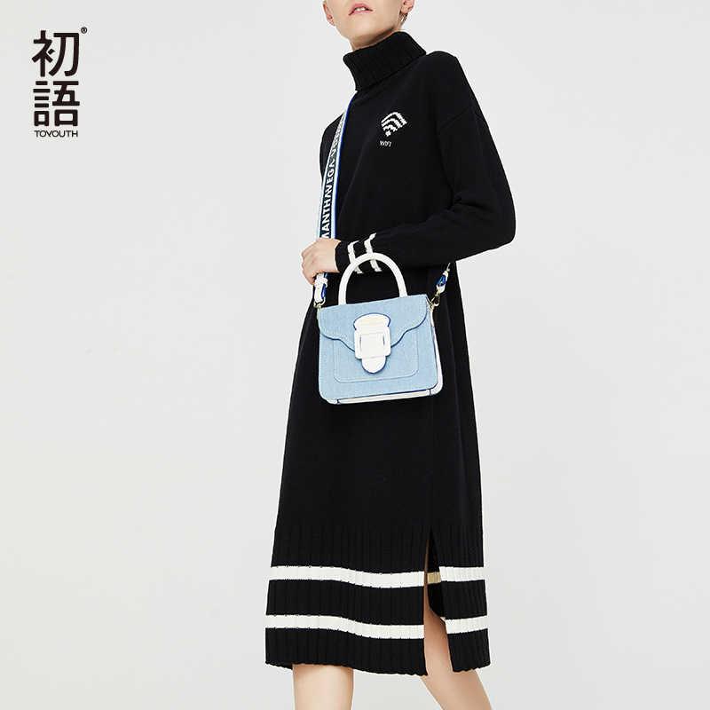 Toyouth черный с длинным рукавом женское платье в полоску Водолазка Платья осень Платья-свитеры платье повседневные vestidos mujer