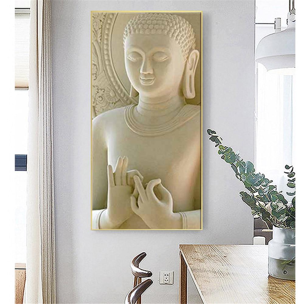 Modern Buddha Statue Canvas Paintings White Marble Buddha
