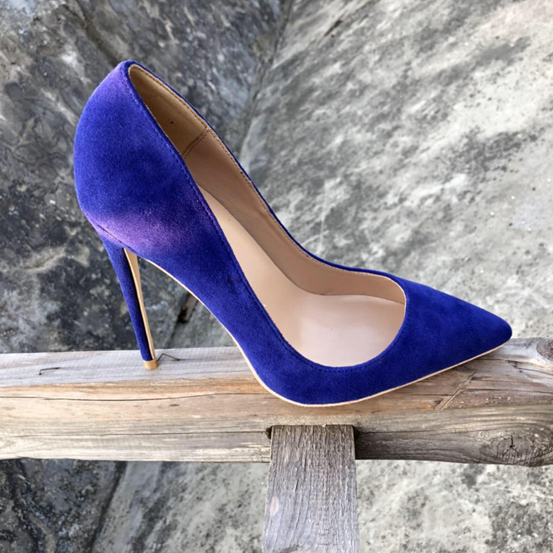 2018 Europe flock leather high heeled lady pumps shallow pointed toe woman single shoes party shoes