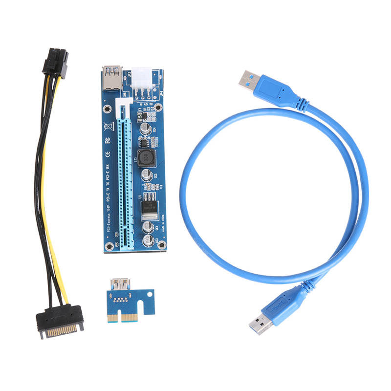 PCI-E Express Riser Card 1x to 16x PCI  Extender 60cm USB 3.0 Cable SATA to 6Pin Power for Bitcoin BTC Miner Mining Full Stock 60cm usb 3 0 pcie riser card pci e express 1x to 16x extender riser card usb adapter sata 15pin 6pin power cable for btc mining