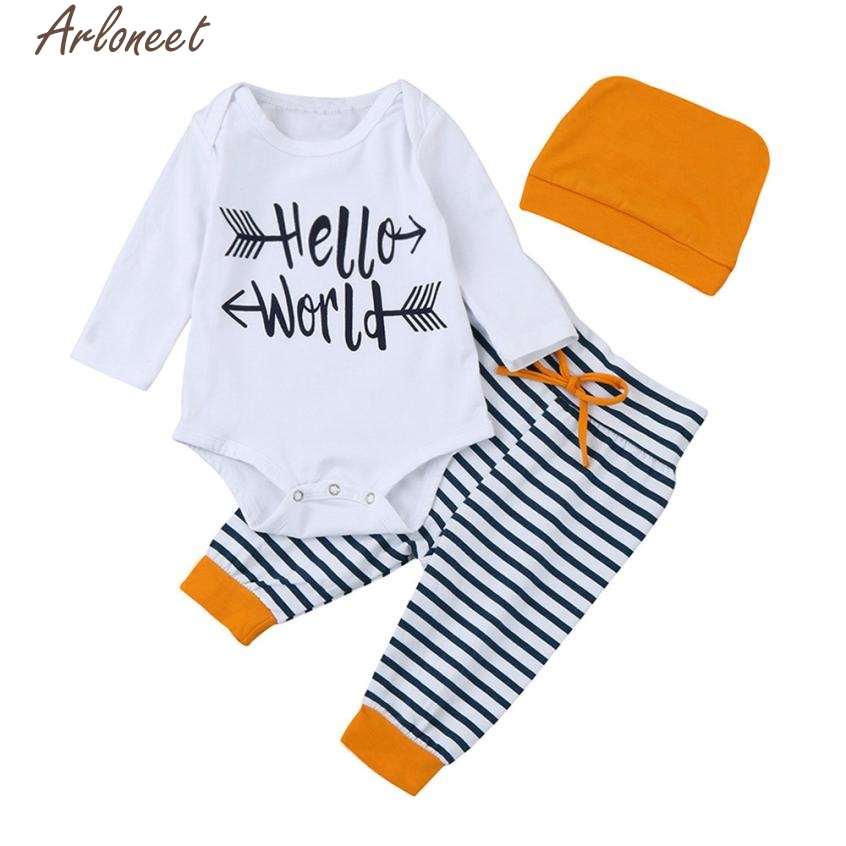 New Year Fashion Baby Boy Girl Clothes Newborn Infant Baby Girl Letter Romper Tops+Striped Pants Hat Outfit Clothes Set #