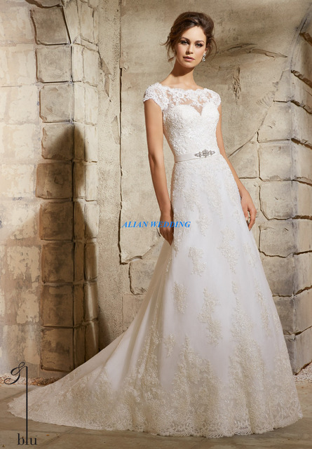 Muslim Wedding Dress Short Sleeve Vestidos De Novia High Neck Lace ...