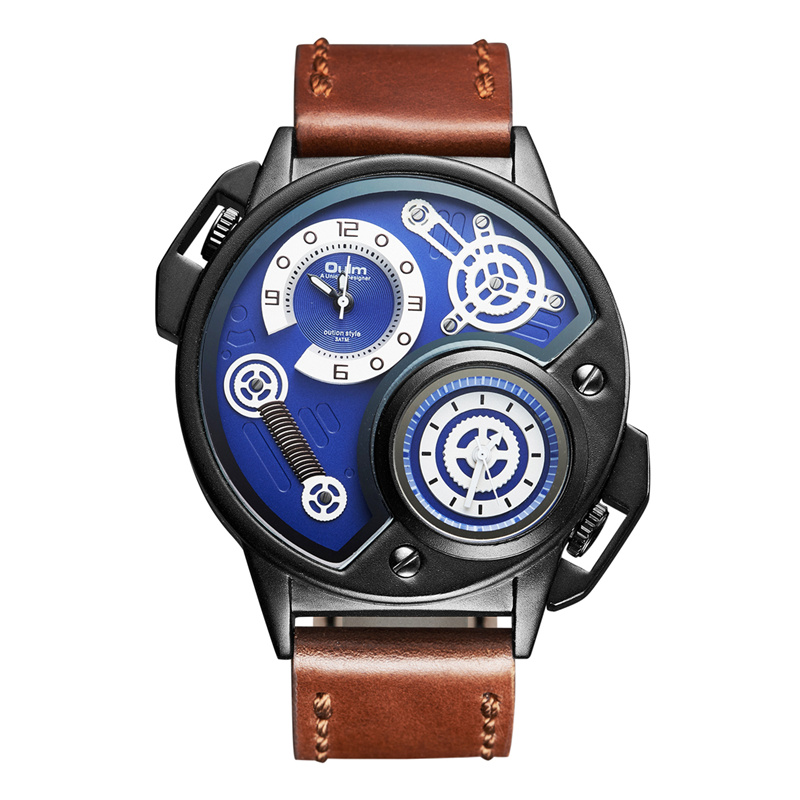 Oulm Luxury Brand Men's Sports Watches New Genuine Leather Wristwatch Two Time Zone Watch Male Quartz Clock relogio masculino