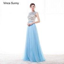 Vestidos De Gala Largos 2018 Blue Long Prom Dresses Beaded Sexy Evening  Dress custom made Elegant Robes De Soiree e782460242c9