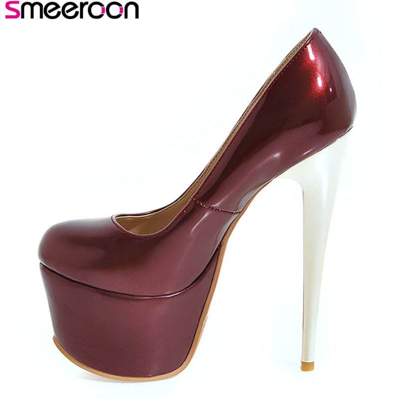 Smeeroon 2018 new style spring autumn fashion high quality thin high heels platform pumps round toe red bule sexy ladies shoes 7 inch 2din car radio mp5 player mp4 touch screen bluetooth rear camera dvr input stereo steering wheel control fm usb tf aux
