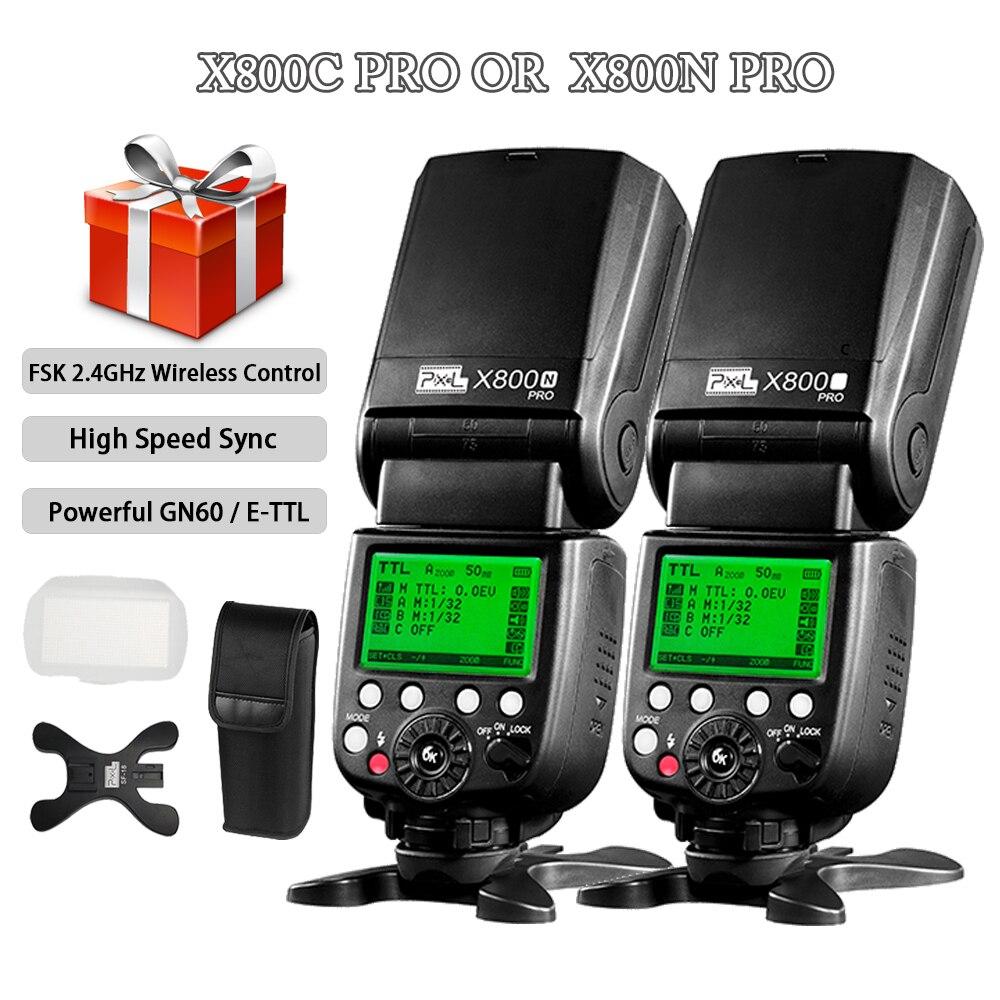 Tüketici Elektroniği'ten Flaşlar'de Piksel 2.4g Kablosuz Kontrol ETTL HSS 1/8000 S Yüksek Hızlı Senkronizasyon Flash X800C X800N Pro Flaş Speedlite canon Nikon için Vs YN568EX title=