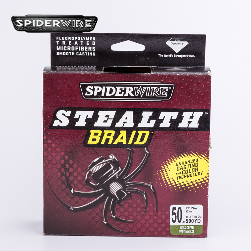 цена на Spiderwire STEALTH Durable Fishing Line 500yd 50lb 22.7kg 457m PE Braided Wire Green 4 Models Fishing Accessories Angler Tackle