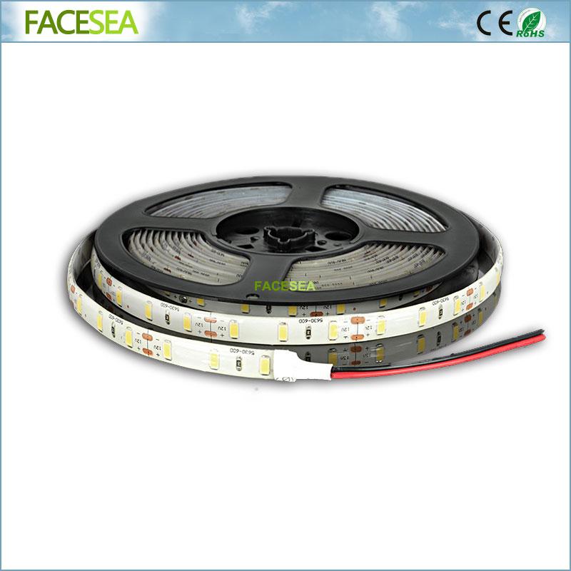 DC12V 5m SMD 5630 Led Strip 60Led / m Vodotěsná IP65 LED páska Flexibilní světlo pro domácí dekorace Kuchyňské osvětlení String