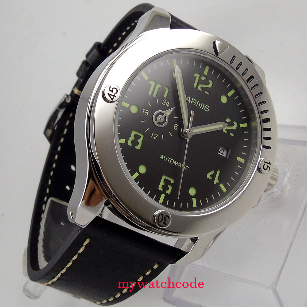 Luxury Brand Men's Watch Automatic Parnis 43mm Black Dial Super Luminous Date 821A Automatic Mechanical Mens Watches Wrist Watch