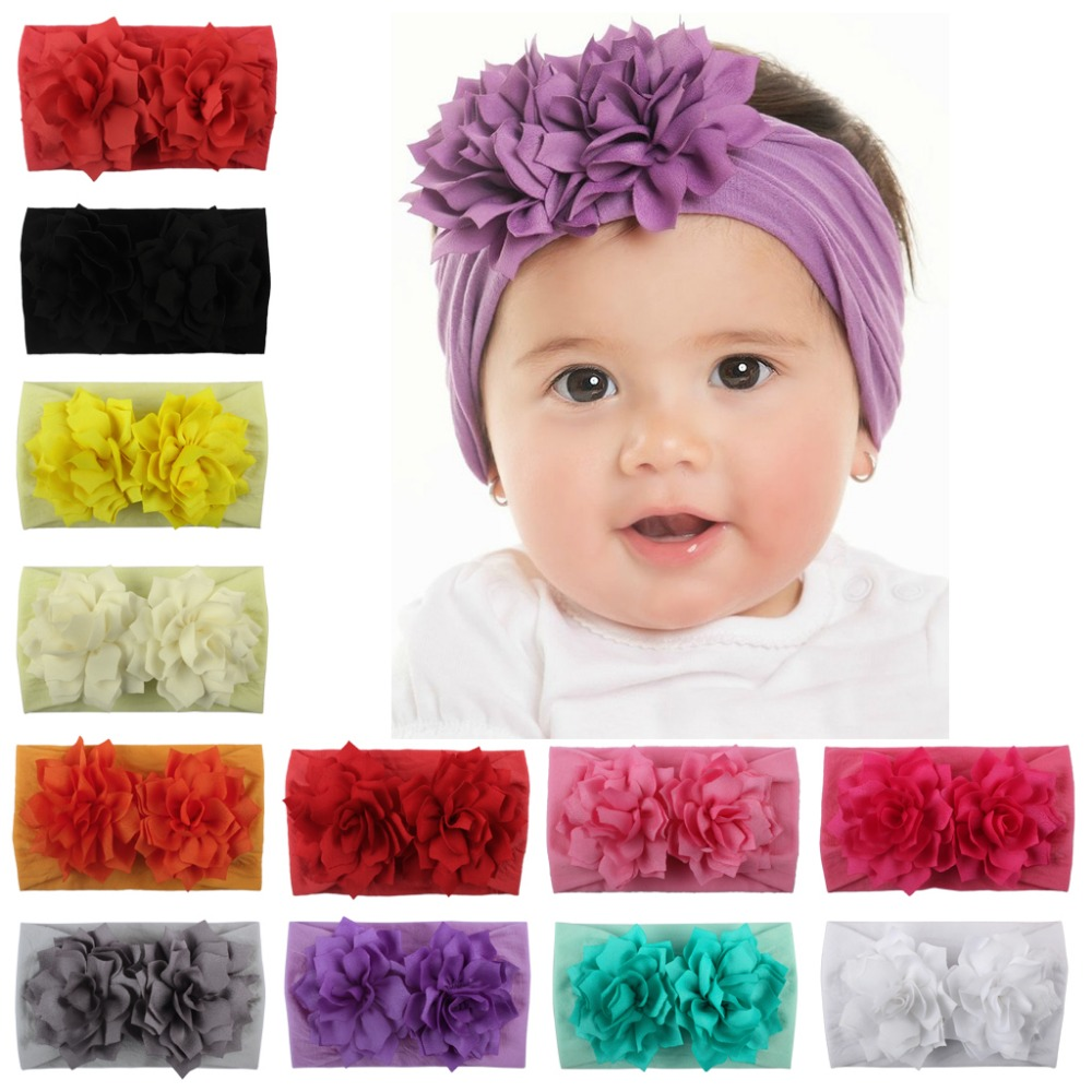 36pc lot Kids Wide Nylon Headbands Fabric Flower Match Nylon Headbands Two Flower Headbands Children Girls
