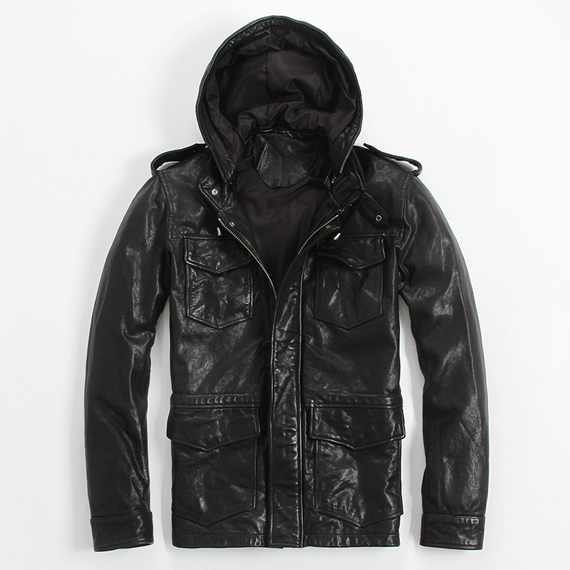 Men's Leather Jacket Hooded Long Coat Slim Fold Hat Can Be Removed