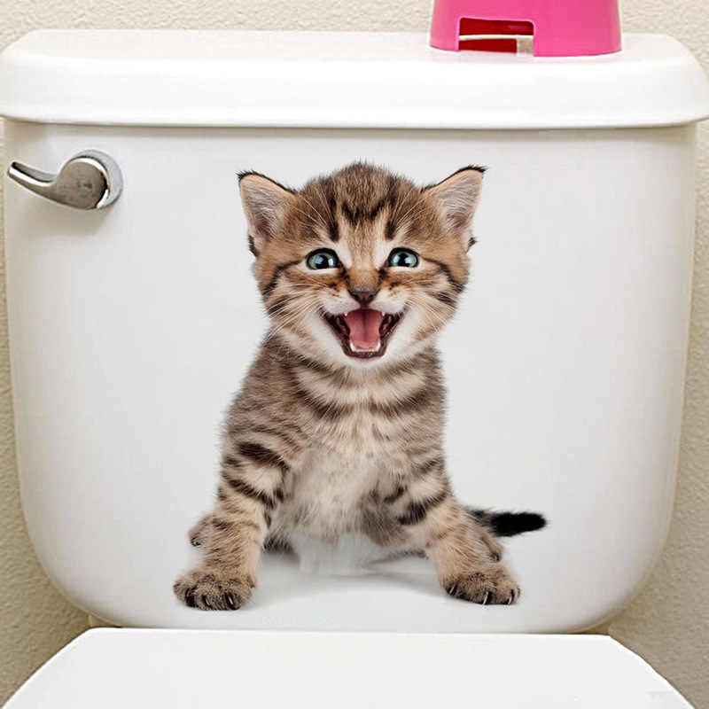 חמוד חתלתול הוא מחייך קיר מדבקת סלון חדר שינה ספת טלוויזיה רקע קיר מסעדת מרפסת מדבקה