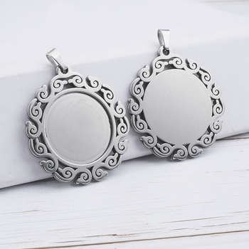 6pcs Fit 25mm Stainless Steel Cabochon Base Diy Blank Cameo Pendant Bezel Settings Diy Jewelry Necklace Trays 5pcs wood cabochon settings fit 25mm glass blank cameo necklace pendant base trays with leather cord for diy jewelry making