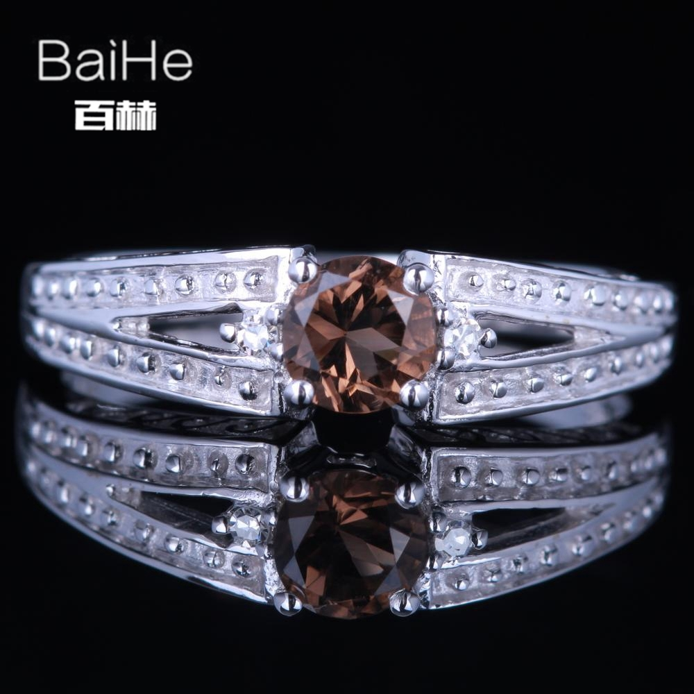 BAIHE Sterling Silver 925 0.39CT Certified Flawless Round CUT 100% Genuine Smokey Quartz Women Trendy Fine Jewelry unique Ring цена