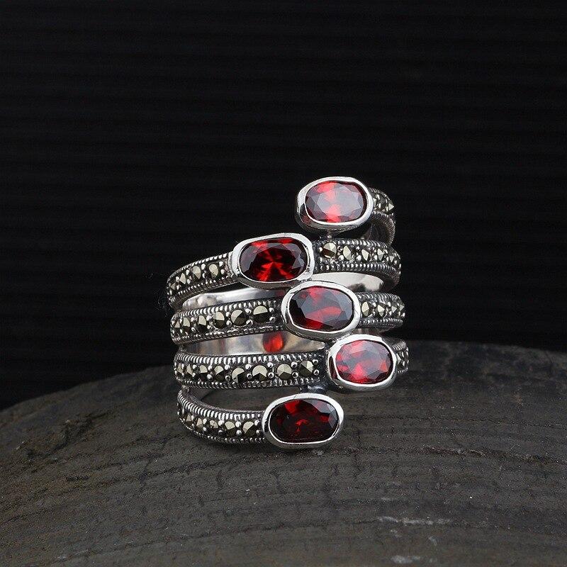 MetJakt Vintage bague rubis solide 925 bague en argent Sterling pour les femmes fête mariage Thai bijoux en argent
